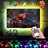 LED Strip Lights, LED TV Backlight for 60-75in Television,USB Bias Lighting Neon Accent Bias Light for HDTV 4 Sides, Monitor Backlight with RF Remote Controller & Strong Adhesive Tape 13.2ft