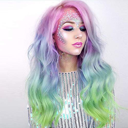 Imstyle 24 inches Rainbow Lace Front Wigs Multi-Colorful Natural Wave Free Parting Wig with Gift Pack
