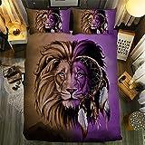 Erosebridal Lion Printed Bedding Duvet Cover King Size Bedspread Tribal Style for Kid Teen Bedding Set 3D Animal Printed Retro Comforter Cover 3 Pcs Soft Lion Pattern Bedding for Adult Bedroom