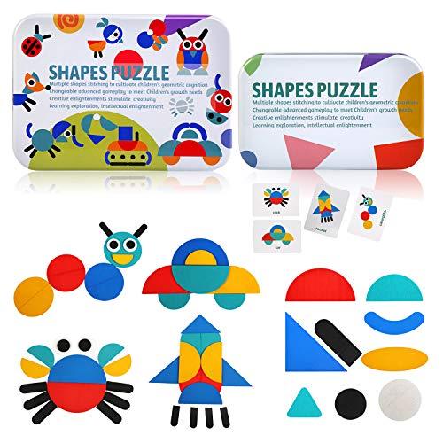 BelleStyle Holzpuzzle Geometrische Formen Puzzle, 36 PCS Jigsaw Puzzle 60PCS Musterkarten Kids Puzzle Set Lernspielzeug zum Sortieren und Stapeln von Spielen für Jungen und Mädchen ab 3 Jahren