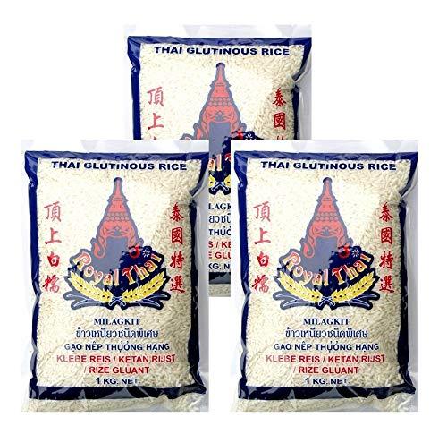 Royal Thai Klebereis (Sticky Rice), 1kg, 3er Pack, (3x1000g)
