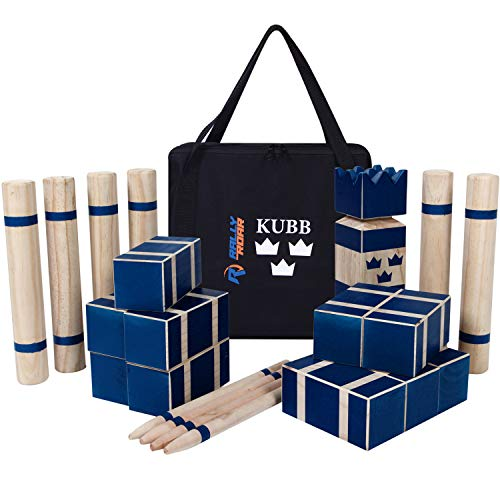 Kubb Premium Set Yard Game Set for Adults, Families - Fun, Interactive Outdoor Family Games - Durable Wood Blocks with Travel Bag - Clean, Games for Outside, Lawn, Bars, Backyards