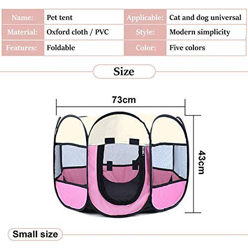 Portable Foldable Hundehütte für Haustiere und Haustiere, Playpen für Kennel Easy Operation Octagon Fence Outdoor für kleine Hunde Crate-Pink1_74 x 74 x 43 cm