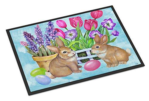 Caroline S Treasures Pjc1066mat New Beginnings Lapin de Pâques en intérieur ou extérieur Tapis, 45,7 x 68,6 cm, Multicolore
