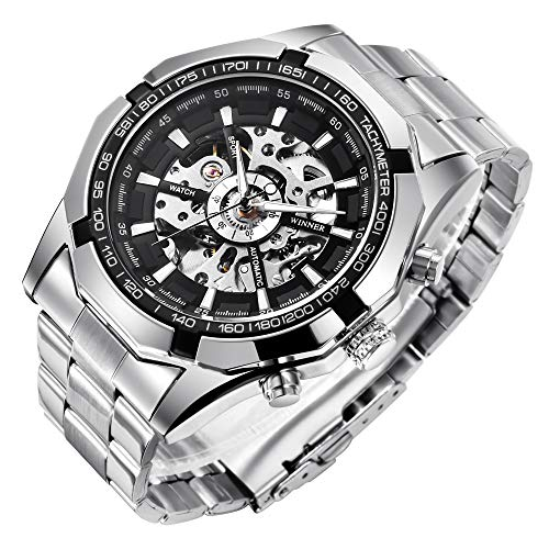 Mens Watches, Mechanical Skeleton Stainless Steel Waterproof Automatic Self-Winding Watch for Men,...