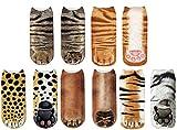 Animal Paw Cute Ankle Socks for Kids Girls Boys Funny Low Cut No Show Boat Short Crew Socks (20cm ankle socks for children, 5 Pairs (Orange Cat Dog Tiger Leopard Cat))