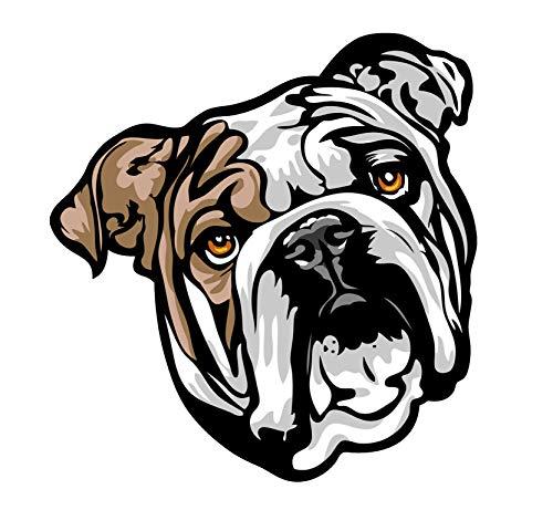 WickedGoodz Happy English Bulldog Decal - Dog Breed Bumper Sticker - for Laptops Tumblers Windows Cars Trucks Walls - Full Color Face