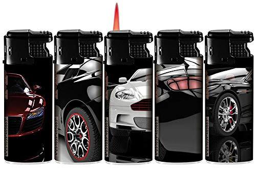 TopschnaeppchenDSH Turbo Sturmfeuerzeug Cars, ROTE Turbo Flamme Gas Feuerzeug - 3 Stück, zufällige Auswahl