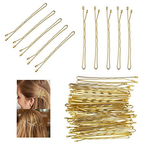 120 Stück Haarnadeln, Bobby Pins Blonde Kirby Grips Haarnadeln Gold Gewellt Haarklammern für Frauen und Mädchen, Besonders Dickes Haar(5.5cm/2.2 Inches)