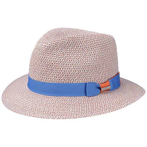 Stetson Newkirk Traveller Toyo Strohhut - Sommerhut Damen/Herren - Sonnenhut mit UV-Schutz 40 - Strandhut aus Stroh (Papierstroh) - Travellerhut Frühjahr/Sommer - Hut blau-beige XL (60-61 cm)