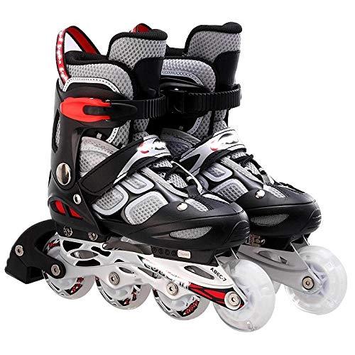 JKlb Skates Kinder Einstellbare Flash Inline Skates Männer und Frauen Rollschuhe Erwachsenen Outdoor-Skates ABEC-7 Lager PU Rad L (37-41) Schwarz und Weiß