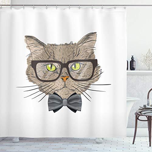 ABAKUHAUS Geek Duschvorhang, Urban Style Hipster Katze, mit 12 Ringe Set Wasserdicht Stielvoll Modern Farbfest & Schimmel Resistent, 175x200 cm, Mehrfarbig