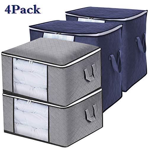 SPECOOL Aufbewahrungstasche,Aufbewahrungsbox Groß Aufbewahrung für Bettdecken und Kissen Kleiderboxen Kleidung, Aufbewahrungsbox mit Verstärktem Griff Reißverschluss aus Dickem Stoff, 4 Pack