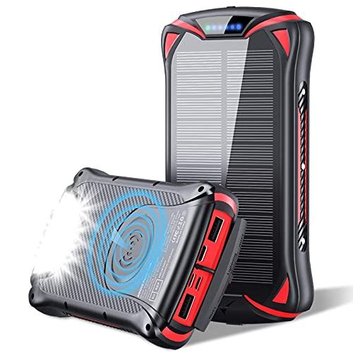 AikovePB 10W Wireless Cargador Portátil 30000mAh 18W Solar Energia Movil, Power Bank Móvil Portátil Batería Externa, QC 3.0 Paquete de Pilas Externo con 3 Entradas y 4 Salidas (USB C de Qi)
