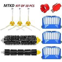 MTKD® Kit Cepillos Repuestos para iRobot Roomba Serie 600 - Kit de 10 Piezas Accesorios(Cepillos Lateral, Filtros, Cepillo de Cerda y etc..) para Aspirador Robot.
