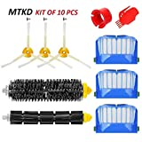 MTKD Kit Cepillos Repuestos Compatible con iRobot Roomba Serie 600 - Kit de 10 Piezas Accesorios(Cepillos Lateral, Filtros, Cepillo de Cerda y etc..) para Aspirador Robot.