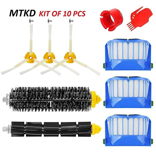MTKD® Kit Bürsten Ersatz für iRobot Roomba Serie 600 - 10 Teile Zubehör Kit (Bürsten seitlichen Cerda und etc..), Filter, Bürste für Staubsauger Roboter.