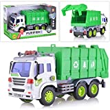 Toy Garbage Sanitation Truck for Boys | Durable Toddler Recycling and Trash | Green Waste Management Vehicle | Friction Powered with Lights and Sounds