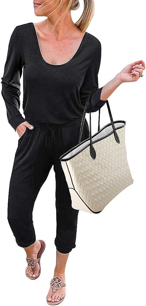 KIRUNDO Women's Jumpsuit Casual Loose Long Sleeve Crewneck Jumpsuit Elastic Waist Stretchy Soft Romper Jumpsuit