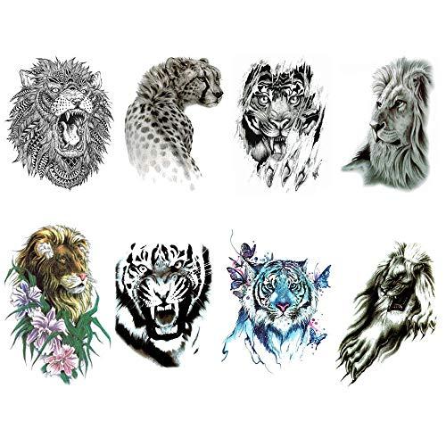 Tatuaggio temporaneo Tojan Animali/Confezione da 8 Fogli Tatuaggi diversi/Effetto molto realistico applicato una volta/Adesivo Tatuaggio Temporaneo