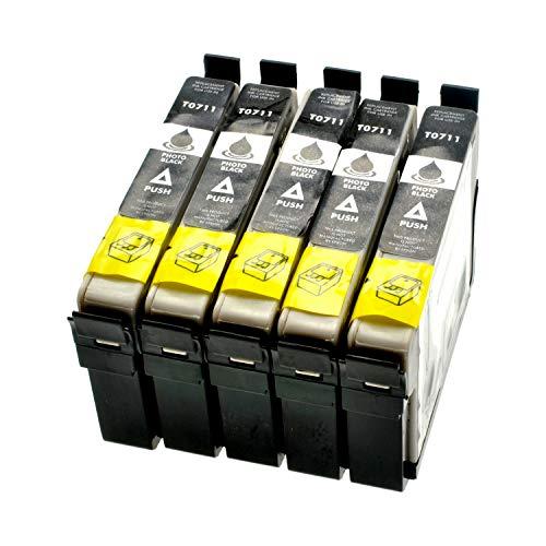 LS 5 cartuchos de tinta para Epson C13T07114011 negro, 14 ml, compatible con T0711
