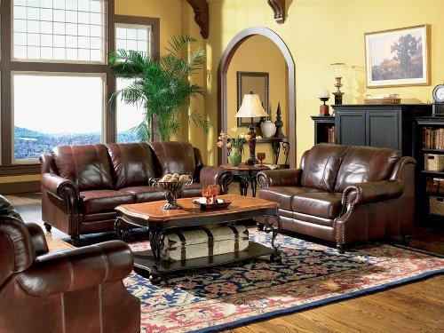 Hot Sale 3pc Princeton Tri-Tone Burgundy Leather Sofa Loveseat & Recliner Chair Set