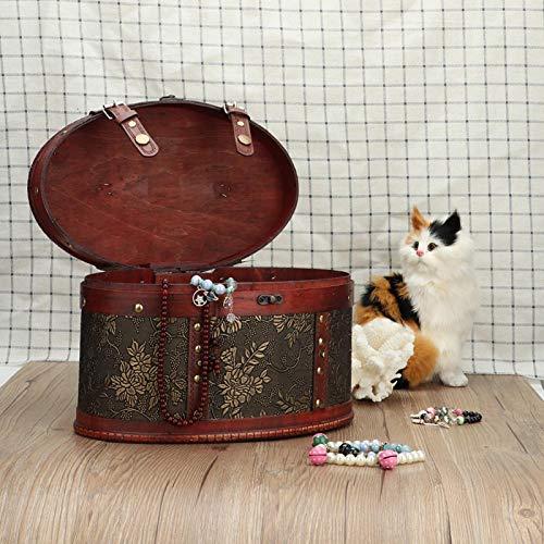 FOLOSAFENAR Tenedor de Escritorio de la Caja de Almacenamiento de la joyería de la aleación de Madera, para el Escritorio, Sala de Estar