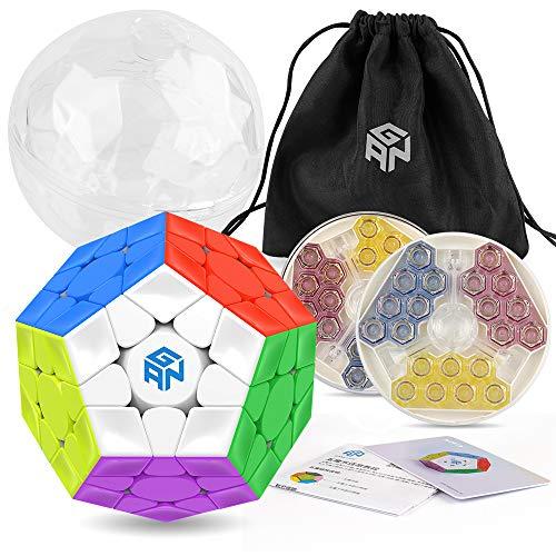 Coogam GAN Megaminx Cubo Versión magnética 3 × 3 Gans Megaminx M Pegatina de Velocidad sin Cubo de Juguete Dodecaedro pentagonal Puzzle