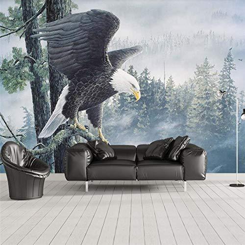 BHXIAOBAOZI Eigen 4D muurschildering groot wallpaper, zwarte en witte adelaar op een bos tak, moderne Hd-zijde muurschildering poster afbeelding TV sofa achtergrond muur decoratie voor woonkamer 400cm(W)×250cm(H)|13.12×8.2 ft
