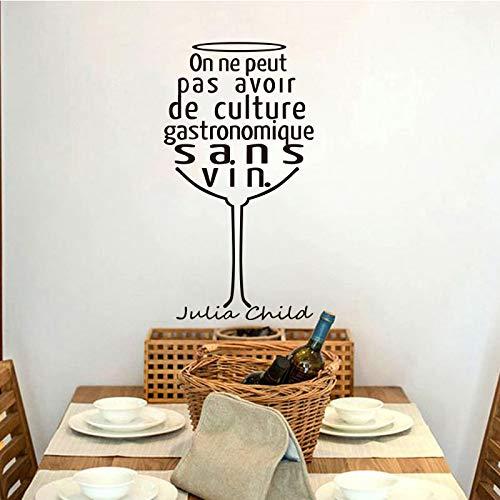 guijiumai Französisch Zitat Weinglas Vinyl Wandaufkleber Applique Wand Kunst Tapete Küche Bar Wohnkultur Haus Dekoration D40X87CM
