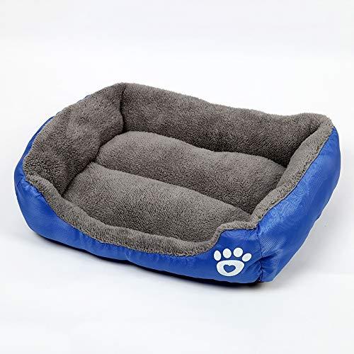 Shufeivicc Color de Caramelo Four Seasons Genuine Warm Pet Dog Kennel Mat Teddy Dog Mat, Tamaño: S, 43 × 32 × 10cm (Café) (Color : Dark Blue)