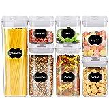 Esyhomi Recipientes herméticos con tapa hermética, juego de 7 unidades, recipientes apilables para cereales, nueces, reservas secas (color blanco)