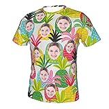 Camiseta Personalizada con Foto De Cara, Camisa Hawaiana con Cara De Hombre, Blusa Informal De Manga Corta con Estampado De Flores para Fiestas En La Playa