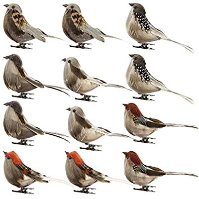 LLJEkieee 12PC/Set Foam Birds Feather Artificial Simulation Doves with Clip Claw Ornaments DIY Craft for Wedding Decoration Home Garden (A)