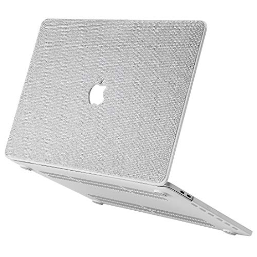 Luxurious Bling Diamond MacBook Case Compatible with 2018-2020 MacBook Air 13 inch A2179 A1932, MacBook Pro 13 inch Case 2016-2019 A2159 A1989 A1706 A1708 (MacBook Pro 13 inch, White+White Base)