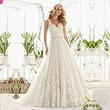 JYL Wedding Dress Bride Gown Bridesmaid Dress Double V-Neck Crochet Lace Top Lace Applique Lace Princess Dress A Line Ivory/US:2 (S)