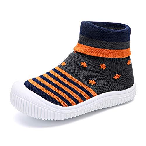 zhenghewyh Unisex Baby Erste Wanderer Schuhe Atmungsaktives Mesh Boden Turnschuhe Kleinkinder Jungen Mädchen Slip-on Hausschuhe Grey 23 EU