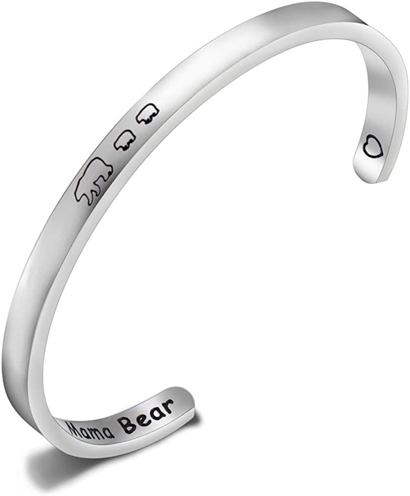 Mama Bear Bracelet with 1 2 3 Cubs Adjustable Bangle Bracelet Mom Gifts (2 cubs cuff)