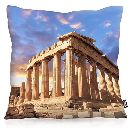 VOID Acrópolis Cojín con Dibujo Funda de cojín Funda para Outdoor Indoor Grecia Columnas Atenas, Kissen Größe:60 x 60 cm