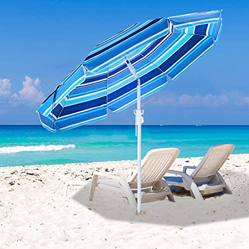 PATIOMNI Beach Umbrella 7.5ft Portable Outdoor Umbrellas with Carry Bag Sand Anchor Push Button Tilt Pole UPF50+ UV Protection Windproof Sunshade Parasol for Beach, Patio, Yard, Garden (Blue& White)