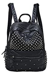 """Soft pu leather with studded details Polyester lining Adjustable shoulder straps, top zipper closure, front zipper pocket Lined interior with back wall zip pocket and organizational slip pockets Measurements: 28x32x14CM /11""""x12.6""""x5.1"""" (LxHxW)"""