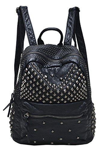 Sannea Womens Studded Black Leather Backpack Casual Pack Fashion School Bags for Girls