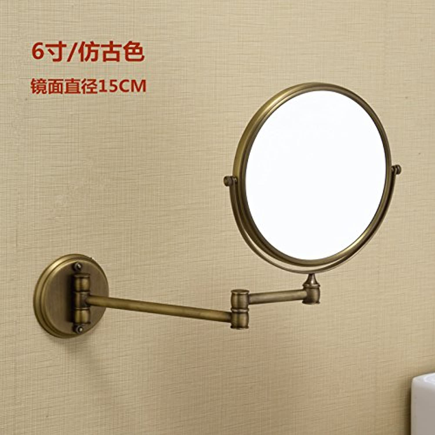 Bathroom wall mounted redating mirror folding mirror toilet telescopic mirror double sided mirror 6 inch antique color