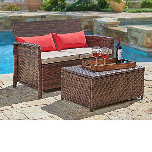 2 Person Outdoor Seat with Coffee Table with Storage