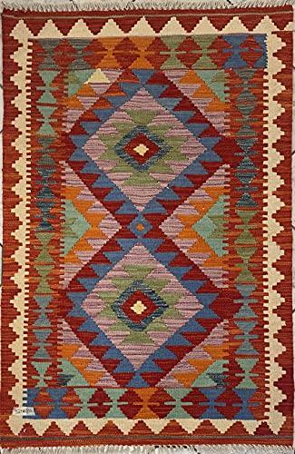 Alfombra oriental afgana hecha a mano Kilim de lana de colores naturales afganos turcos nómada persa tradicional persa 80 x 121 cm vintage corredor pasillo escalera reversible