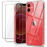 YNMEacc Glitter Coque Compatible avec iPhone 12 et 12 Pro avec 2 Pièces Verre Trempé Protection...