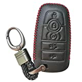 Black Hand Sewing Leather Cover Key Fob Case Protector Jacket Holder For 2017 Ford Fusion Edge F250 F350 F450 F550 2018 Explorer Expedition 5 Buttons Smart Remote Control