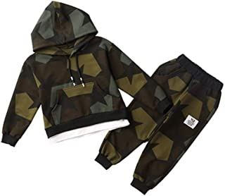 Boys Camo Hoodie Pullover Sports Tracksuits Sweatershirt Coat Top + Pants