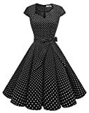 MUADRESS 1960 Women's Retro 1950s Cap Sleeve Vintage Rockabilly Prom Swing Dresses BlackWhiteDotA Large