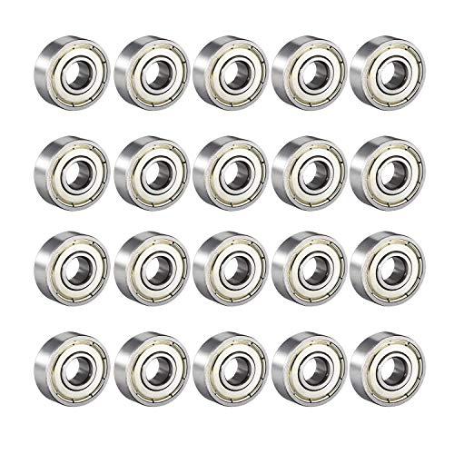 Donepart 20 Pcs Skateboard Bearings 608 ZZ C3 High Speed 8x22x7mm Double Shielded Ball Bearings for...